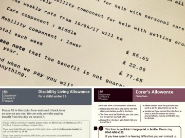 Benefits photo montage link to disability benefits for families