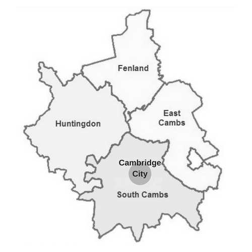 map showing districts of Cambridgeshire