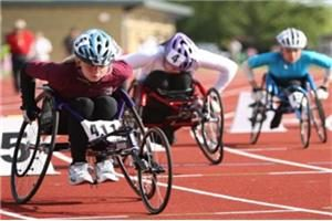 wheelchair racers in action