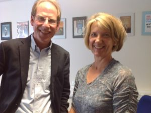 Professor Simon Baron-Cohen with Pinpoint's Lenja Bell