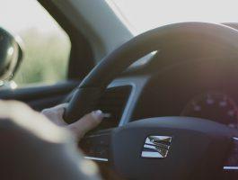 driver at steeting wheel