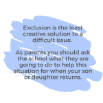 pull out advice for parents on school exclusions