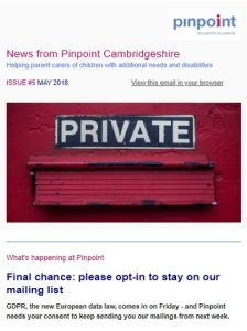 cover of Pinpoint newsletter for May 2018