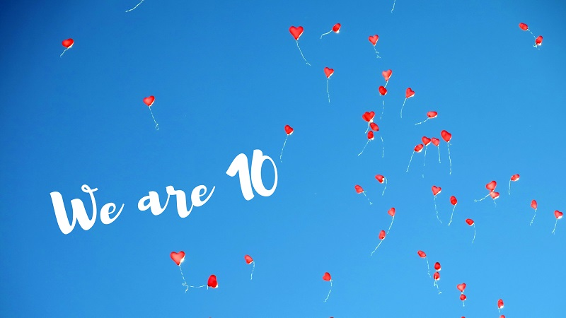 celebration balloons in blue sky